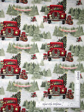 Christmas Tree Farm Red Truck Presents Cotton Fabric Retired CP58648 ~ Yard