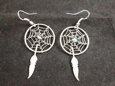 VINTAGE STERLING SILVER DREAM CATCHER EARRINGS WITH TURQUOISE BEAD