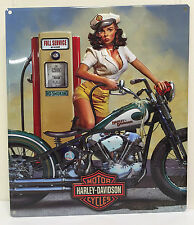 Ande Rooney HARLEY DAVIDSON FULL SERVICE Babe Pin Up Girl Tin Motorcycle HD Sign