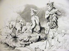 "Edwin Landseer ""REST"" SCOTLAND George Murray DOGS & DEAD STAG 1870 Print Matted"