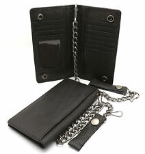 Bifold Brown Genuine Leather Checkbook Holder Snap Button Wallet with a Chain