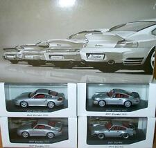 SCARCE MINICHAMPS PORSCHE 911 930 993 964 996 COUPE DEALER PROMO SET SILVER 1:43