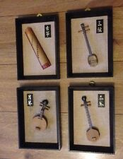 4x Chinese Miniature Instrument Framed Pictures