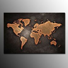 Canvas Prints For Living Room Brown World Map Wall Art Canvas Painting -No Frame