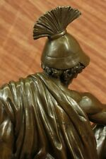 Roman Gladiator Sparton Warrior Bronze Sculpture Marble Base Statue Figurine LRG