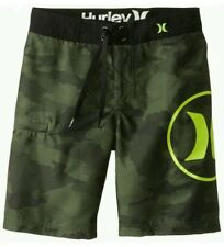 NWT $42 Boy Hurley Green Camo Logo Board Shorts Swim Trunks Size 16