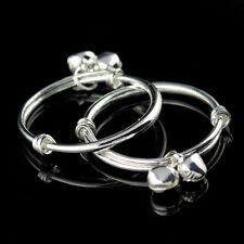 NWT 2 PK. INFANT BABY TODDLER SILVER PLATED SMOOTH ROUND BANGLE BRACELETS