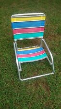 Folding Aluminum Low Striped Beach Chair Outdoor Camping Fishing Picnic Sand