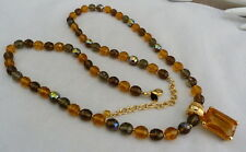 """37"""" JOAN RIVERS AMBER AB FACETED CRYSTAL AMBER GLASS ENHANCER PENDANT NECKLACE"""
