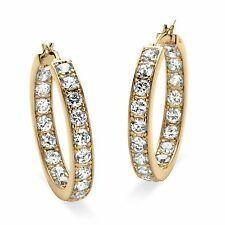 PalmBeach Jewelry 9.50 TCW CZ 14k Yellow Gold-Plated Inside-Out Hoop Earrings