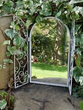 50cm Arched White Garden Wall Mirror Window Metal Working Shutter Shabby Vintage