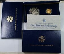 1987 U S CONSTITUTION 2 COIN SET; GOLD & SILVER coins