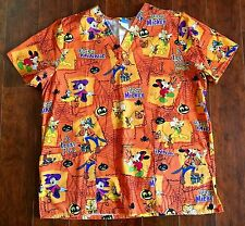 DISNEY WORLD SCRUB TOP LARGE HALLOWEEN MICKEY MINNIE PLUTO GOOFY Costume