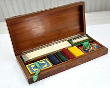 1900s Original Vintage Wooden Box Playing Cards Gambling Chips Set Silver Fitted