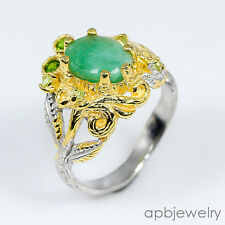 4ct Superb art Natural Emerald 925 Sterling Silver Ring Size 8/R01084