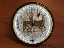 Two Bucks Deer Neon Light Clock 20'' Round - BRAND NEW Old Stock - Made in PA