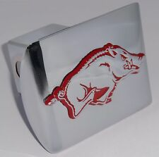 Arkansas Razorbacks Chrome w/ Red - Running Hog Metal Hitch Cover NCAA Football