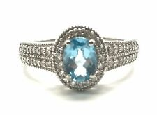 Sterling Silver 925 Diamond Band Cluster Halo Oval Aquamarine Cocktail Ring 7