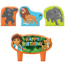 Go Diego Go Birthday Candles 4pcs Cupcake Cake topper Decorations Party Supplies