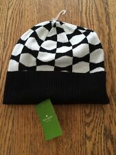 Kate Spade black and white signature bow  beanie hat NWT