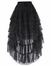 Women Gothic Steampunk Layered Skirt Tiered Corset Vintage Asymmetric Skirt