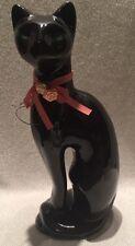 Vintage Ceramic Cat Kitten Black Siamese Green Eyes Pink Ribbon