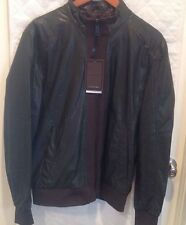 NWT ZARA MEN's KHAKI ZIPS IMITATION FAUX LEATHER AND KNIT JACKET SIZE M L