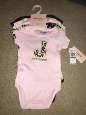 Juicy Couture 6-9 Months Infant Baby Girl 5 Pack Bodysuits Floral Leopard Print