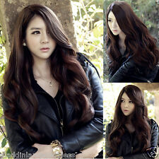 Dark Brown Long Curly Wavy Wig Swept Bang Cosplay Women Heat Resistant Hair Wig