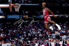 24x36 inch Michael Jordan Dunk Basketball Signature Poster Canvas Print