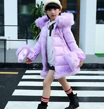 7687 Kids Girls Winter Padded Coat Jacket Fur Collar Outerwear with gloves 5-12Y