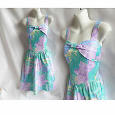 Vintage 60s Dress Size M Aqua Blue Lavender Cotton Sun Strappy Smocked Disco 70s