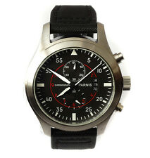 46mm Pilot's CHRONOGRAPH Aviator Military Army Vintage Style Parnis Quartz Watch