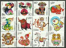 China 2004-1 to 2015-1 New Year Monkey to Ram complete Cycle MNH From Booklet