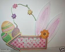 Pier 1 Imports NWT Glittered Wood Easter Egg Hunt Bunny Ears Sign - Big 22 x 17
