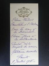 Ancien menu 1916 avec décor gaufré