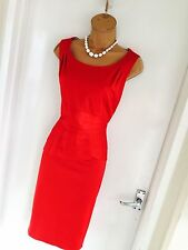 Stunning Oasis Red Wiggle Pencil Occasions Dress With Pleated Waist Uk 12