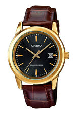 Casio MTP-VS01GL-1A Men's Standard Gold Tone Solar Leather Band Black Dial Watch