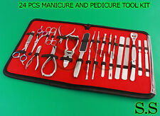 24 PCS NEW FULL RANGE STAINLESS STEEL MANICURE AND PEDICURE TOOL KIT/SET