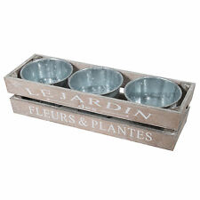Set of 3 Metal Plant Pots Shabby Chic Wooden Crate Planters Herb Trough Flowers