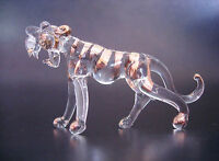 Stripy Glass TIGER, Stripy Gold Painted and Clear Glass Ornament, Glass Animal