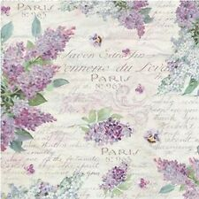Rice paper for Decoupage/rice napkin/Stamperia /lilac scipt spring Paris flowers