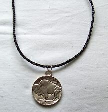 Halskette US Five Cents Bison Indianer Lederkordel necklace