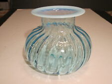 Unusual Mouth Blown Blue Opalescent Glass Spittoon Polished Bottom Base Pontil