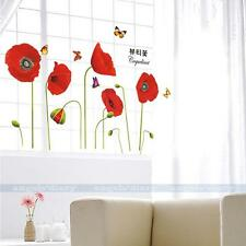 Removable Red Poppy Flowers Wall Sticker Decal Home Decor DIY