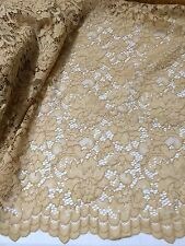 """GOLD CORDED EMBROIDERY BEIDAL LACE FABRIC 50"""" WiIDE 1 YARD"""