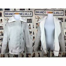 New! Brandy Melville Cream Ivory Faux Fur Suede Aviator jacket Full Length  NWT
