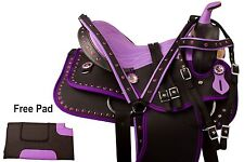 "PURPLE 15"" 16"" WESTERN PLEASURE TRAIL BARREL RACER SHOW HORSE SADDLE TACK SET"