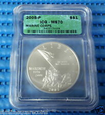 2005-P US Marine Corps $1 Silver Commemorative Coin ICG MS70
