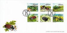 ALDERNEY 2013 FDC COLEOTTERI 6V Set Copertura Insetti foderone DI TIPO Bug Tiger Beetle STAMPS